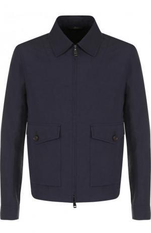 Куртка из смеси льна и хлопка на молнии Brioni. Цвет: темно-синий