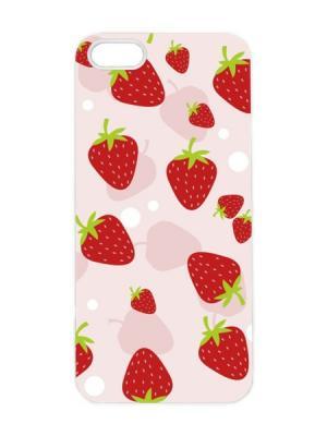 Чехол для iPhone 5/5s Клубничный принт-2 Арт. IP5-066 Chocopony. Цвет: розовый, красный