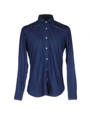 Джинсовая рубашка BARBA NAPOLI. Цвет: темно-синий