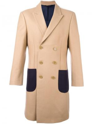 Patch pockets double-breasted coat Lc23. Цвет: телесный