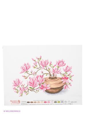 Рисунок на канве Ваза с магнолиями Матренин Посад. Цвет: белый, зеленый, розовый