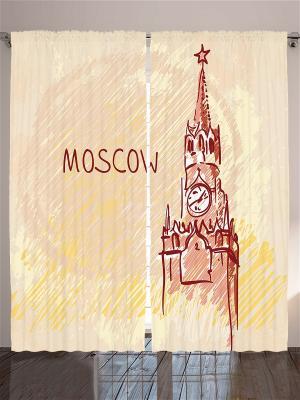 Комплект фотоштор для гостиной Спасская башня, 290*265 см Magic Lady. Цвет: коричневый, бежевый, оранжевый