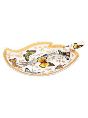Тарелочка под лимон Бабочки  с вилкой Elan Gallery. Цвет: золотистый, зеленый, коричневый