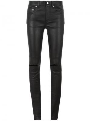 Кожаные брюки с рваными деталями Saint Laurent. Цвет: чёрный