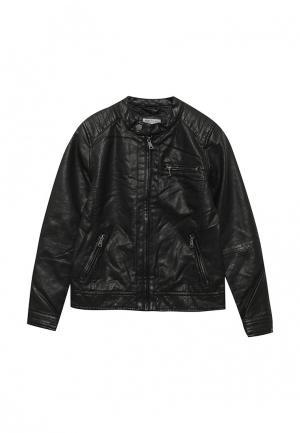 Куртка кожаная Piazza Italia. Цвет: черный
