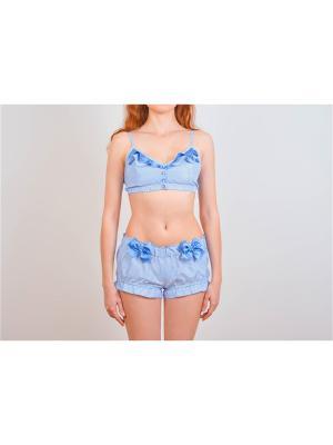 Пижама женская Косичкина. Цвет: голубой, белый