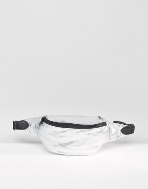 ASOS Сумка-кошелек на пояс цвета металлик LIFESTYLE. Цвет: серебряный