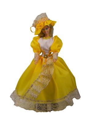 Бальное платье  из шелка со шляпкой для куклы 29 см Модница.. Цвет: золотистый