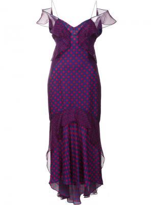 Платье в горошек с открытыми плечами J. Mendel. Цвет: синий