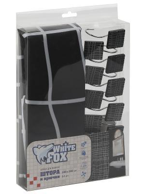Штора для ванной WHITE FOX. Цвет: черный, белый