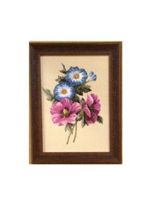 Гобеленовая картина Бутоньерка(лаватера) 17х23 см Рапира. Цвет: бежевый, розовый, зеленый, голубой
