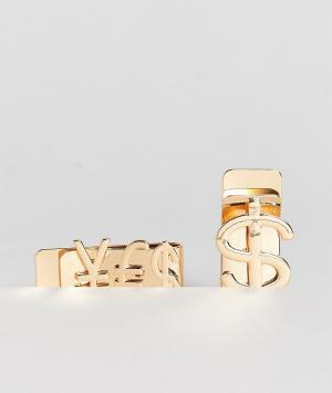 ASOS Набор из 2 зажимов для банкнот. Цвет: золотой