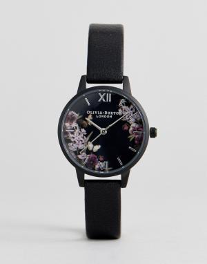 Olivia Burton Часы с черным кожаным ремешком OB16AD22. Цвет: черный