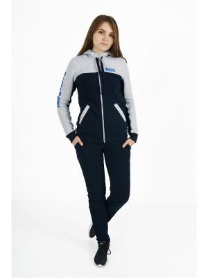 Костюм спортивный теплый CROSS sport. Цвет: темно-синий, серый