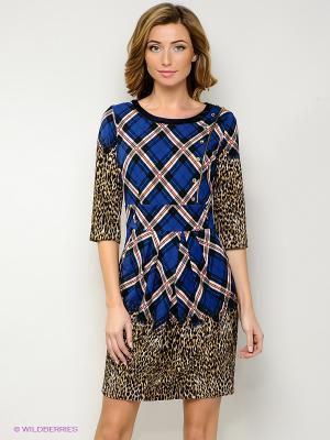 Платье FRENCH HINT. Цвет: синий, коричневый, черный