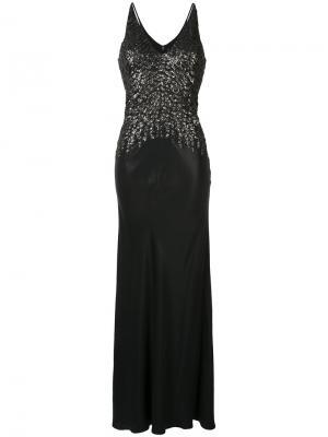 Декорированное вечернее платье с V-образным вырезом Narciso Rodriguez. Цвет: чёрный