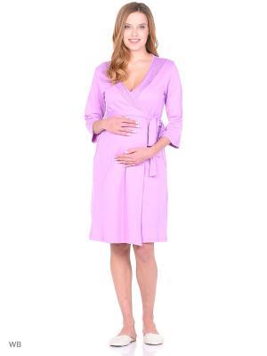 Комплект женский для беременных и кормящих (халат+сорочка) Hunny Mammy. Цвет: сиреневый