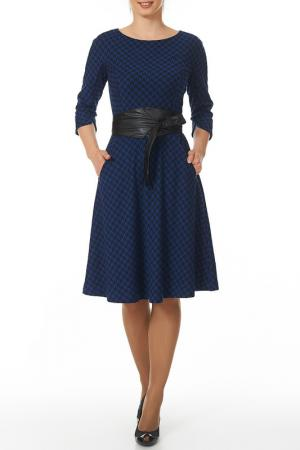 Платье с японским поясом Argent. Цвет: черный, синий