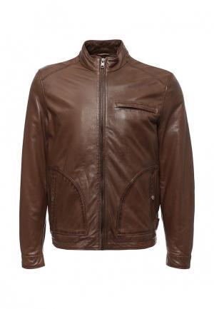 Куртка кожаная Cortefiel. Цвет: коричневый