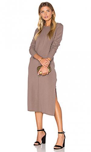 Вязаное миди платье из смеси кашемира с разрезом Michael Stars. Цвет: серо-коричневый