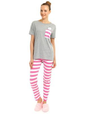 Пижама ТВОЕ. Цвет: светло-серый, розовый, белый