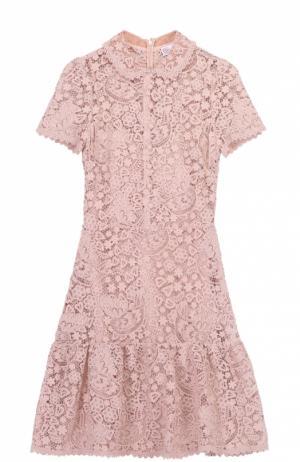 Приталенное кружевное мини-платье с оборкой REDVALENTINO. Цвет: розовый