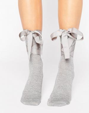 ASOS Носки с блестками и завязками. Цвет: серебряный