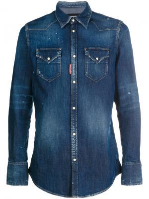 Джинсовая рубашка с выцветшим эффектом Dsquared2. Цвет: синий