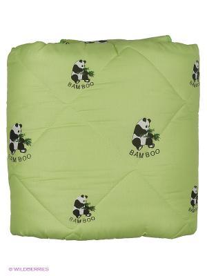 Одеяло Letto бамбук Панда в п/э 1,5 сп универс. чемодане, 140*210см. Цвет: зеленый