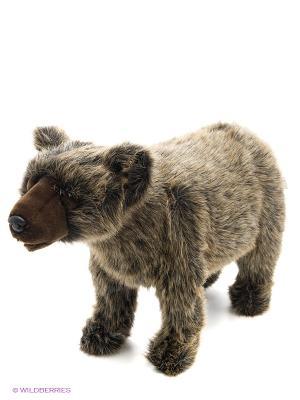 Медвежонок Гризли, идущий, 60 см Hansa. Цвет: коричневый