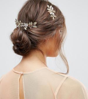 ASOS Набор из 2 металлических гребней для волос с цветочной отделкой. Цвет: золотой