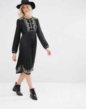 Gat Rimon Платье с длинными рукавами и вышивкой Lori. Цвет: черный