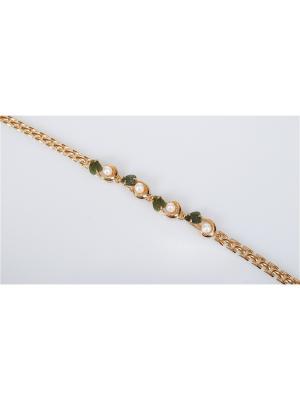 Браслет Жемчуг-нефрит Lotus Jewelry. Цвет: золотистый, белый, зеленый