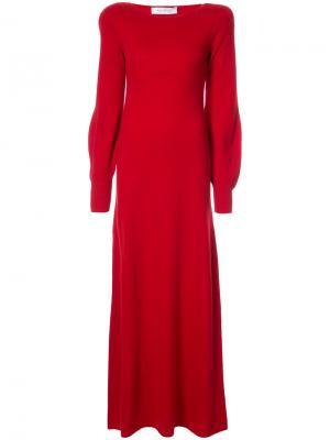 Платье макси с рукавами клеш Ryan Roche. Цвет: красный