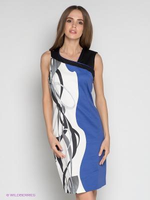 Платье LUIGI FERRO. Цвет: молочный, черный, синий