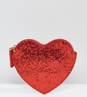 Lulu Guinness Красный блестящий кошелек в форме сердца. Цвет: красный