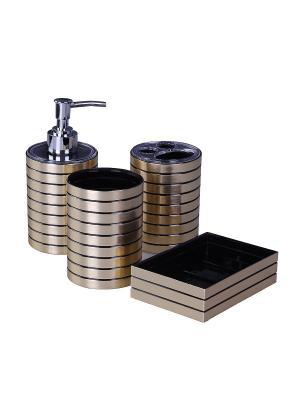 Набор для ванны 4 предмета: дозатор, подставка под зубные щетки, стакан, мыльница PATRICIA. Цвет: золотистый