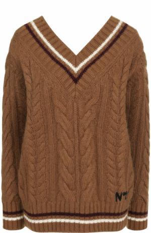 Пуловер фактурной вязки с V-образным вырезом No. 21. Цвет: коричневый