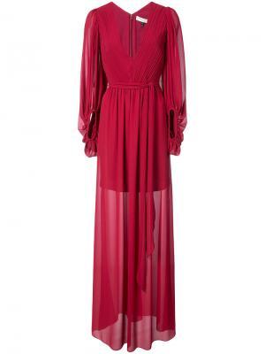 Полупрозрачное платье с драпировками Halston Heritage. Цвет: красный