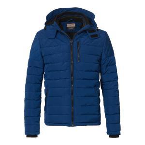 Куртка короткая с капюшоном, демисезонная модель PETROL INDUSTRIES. Цвет: черный,ярко-синий