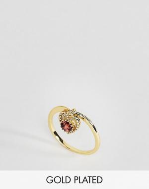 Rock 'N' Rose Кольцо с гранатом. Цвет: золотой