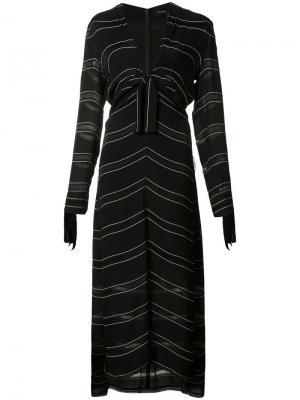 Платье в полоску с узлом Proenza Schouler. Цвет: чёрный