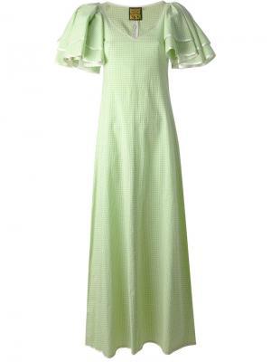 Платье с многослойными рукавами Biba Vintage. Цвет: зелёный