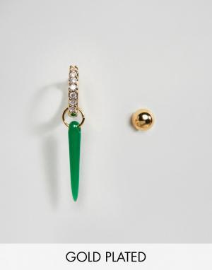 Orelia Серьга-кольцо и серьга-гвоздик с позолотой. Цвет: золотой