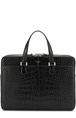 Кожаная сумка для ноутбука с тиснением Serapian. Цвет: черный