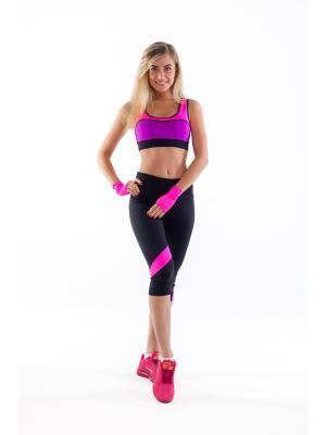 Спортивный топ Триангл Profit. Цвет: розовый, фиолетовый, черный