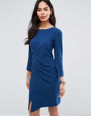 Closet London Платье-футляр со сборками и рукавами 3/4. Цвет: темно-синий