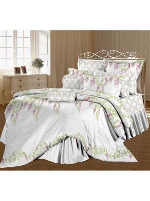 Комплект постельного белья 1,5 перкаль Глициния Романтика. Цвет: белый