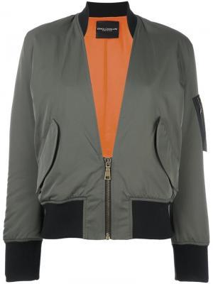Куртка бомбер с V-образным вырезом Erika Cavallini. Цвет: зелёный