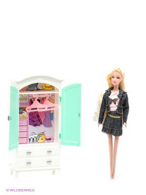 Набор мебели для кукол: гардероб - Красотка 1Toy. Цвет: светло-зеленый, белый